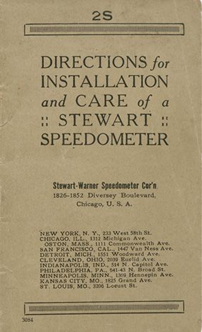 1918 Stewart Warner Speedo Manual