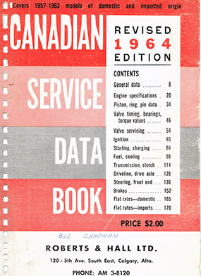 1957-1963 Canadian Vehicle Service Data