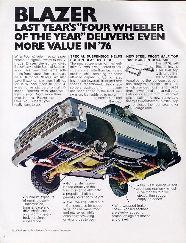 1976 Chevrolet And Gmc Truck Brochures 1976 Chevy Blazer