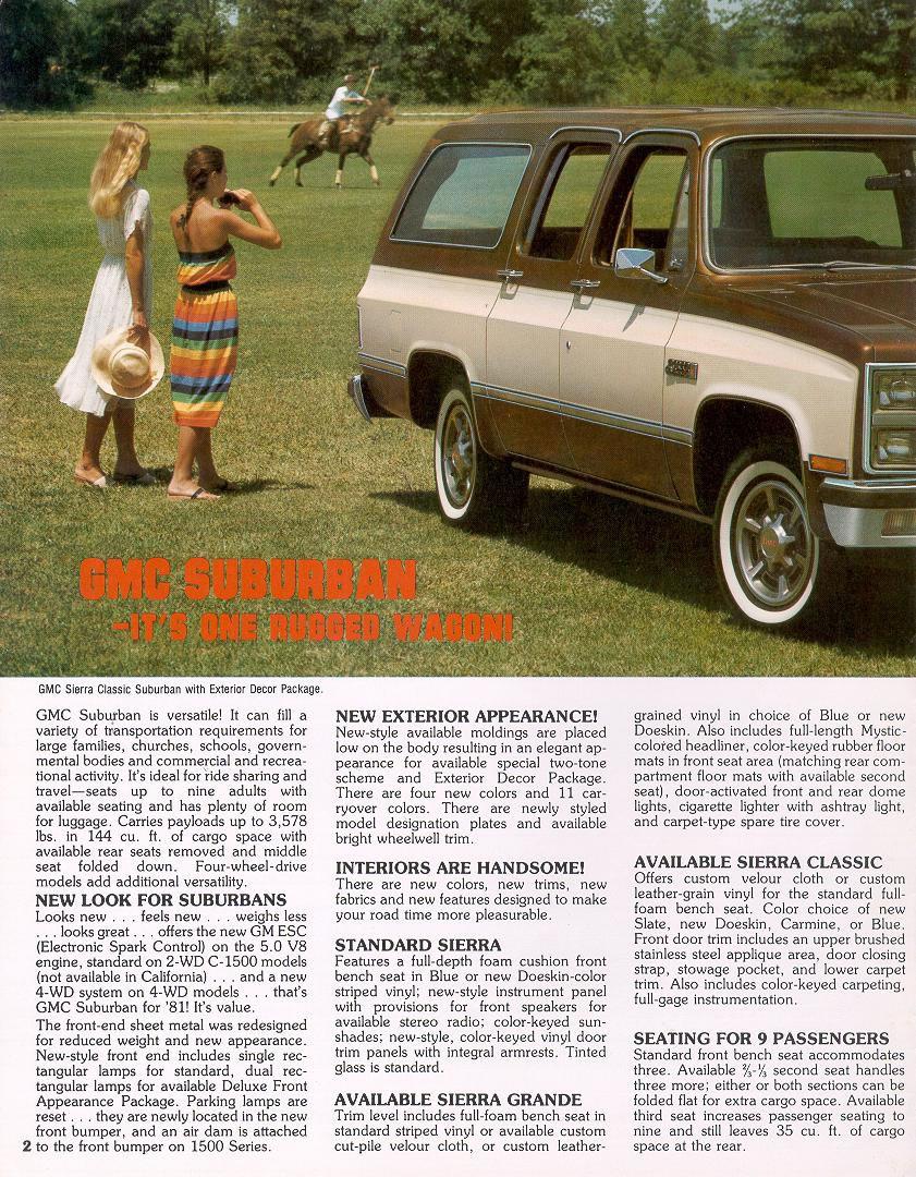 1981 Chevrolet And Gmc Truck Brochures 1981 Gmc Suburban