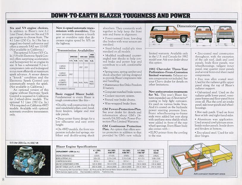 1982 Chevrolet And Gmc Truck Brochures 1982 Chevy Blazer