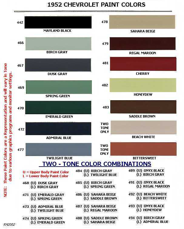 coe colors for 1952 the h a m b
