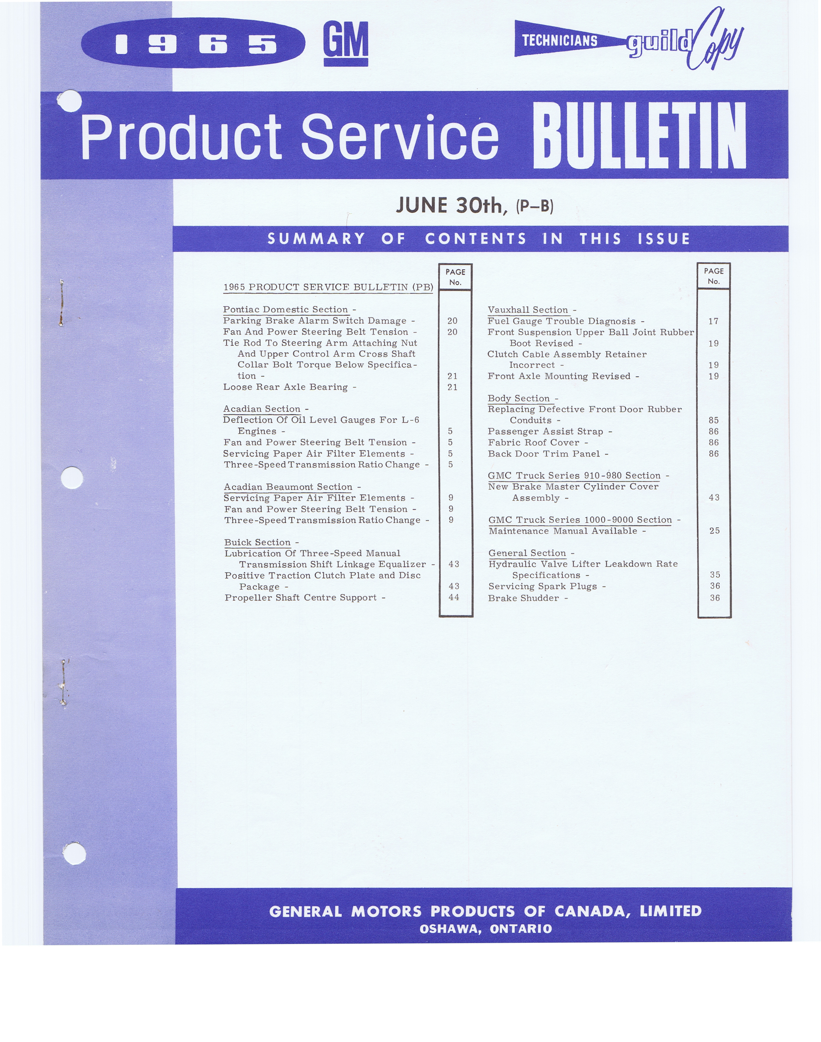 Gm of canada product service bulletins june 30 sept 15 for General motors customer service number