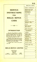 pre-1939 Rolls Royce Manuals