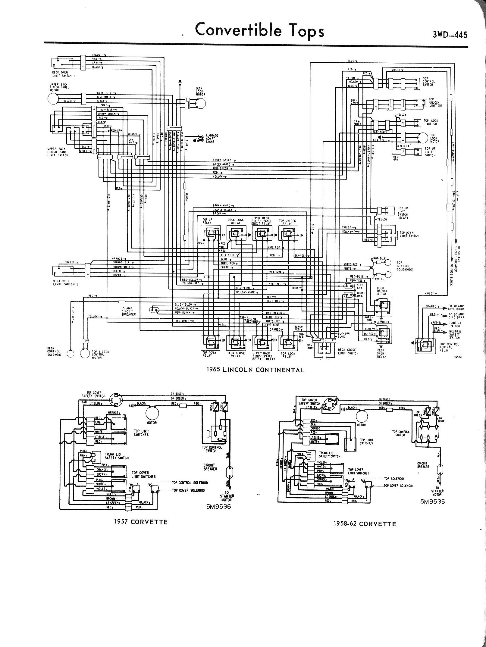 However, looking at this 57 Corvette top motor diagram  http://www.oldcarmanualproject.com/m...WD-445_jpg.jpg The power wire ...