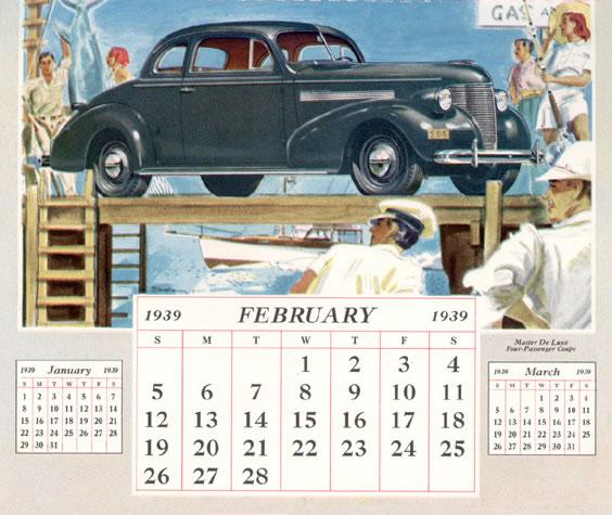 1939 Chevrolet Dealer Calendar 1939 Chevrolet Calendar