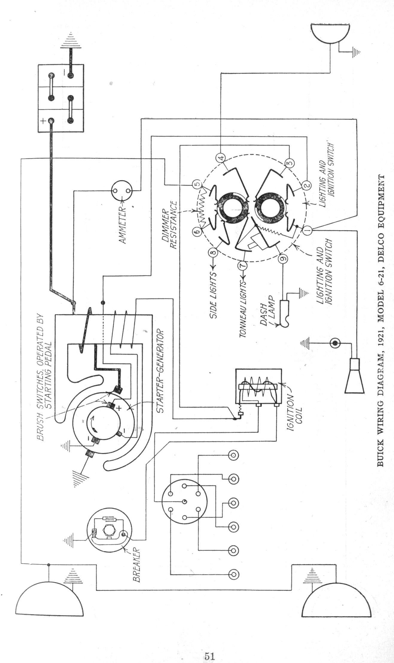 early 1920 s apperson and buick wiring diagrams the old car manual rh oldcarmanualproject com 2000 Buick LeSabre Wiring-Diagram 1965 Buick Skylark Wiring-Diagram