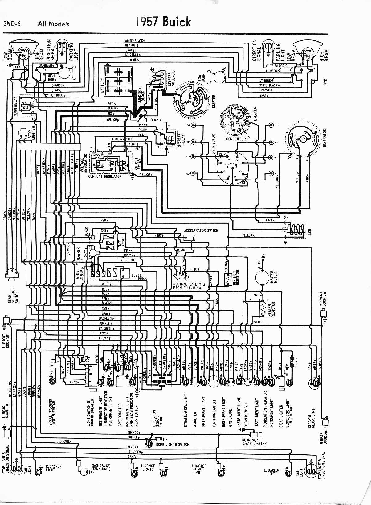 buick wiring diagrams  1957 all models