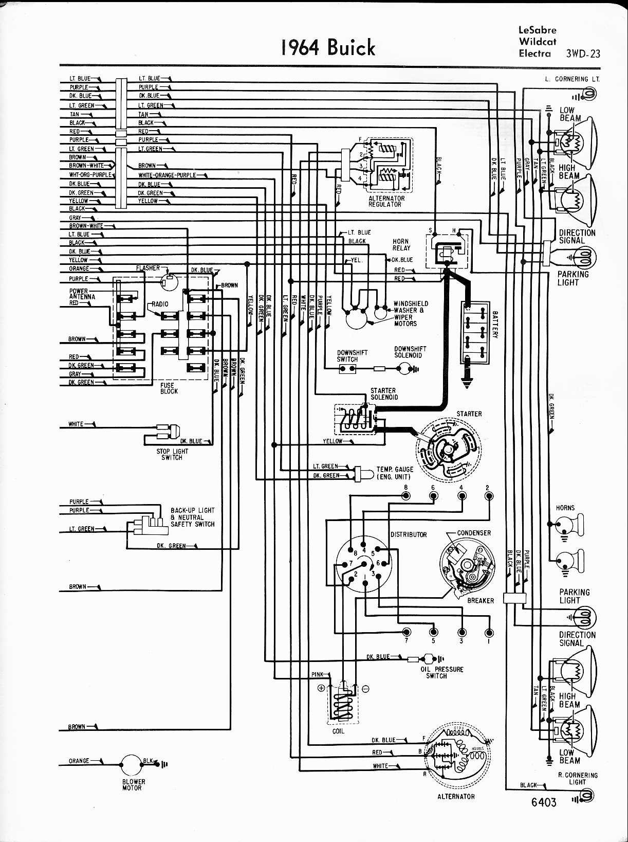 buick wiring diagrams 1957 1965 1964 lesabre wildcat electra right half