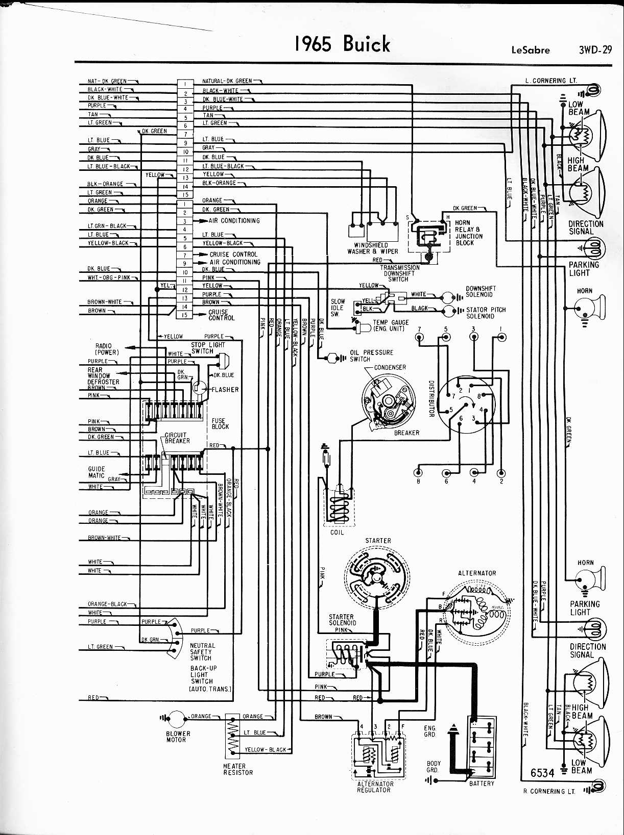 MWireBuic65_3WD 029 buick wiring diagrams 1957 1965 Basic Turn Signal Wiring Diagram at n-0.co