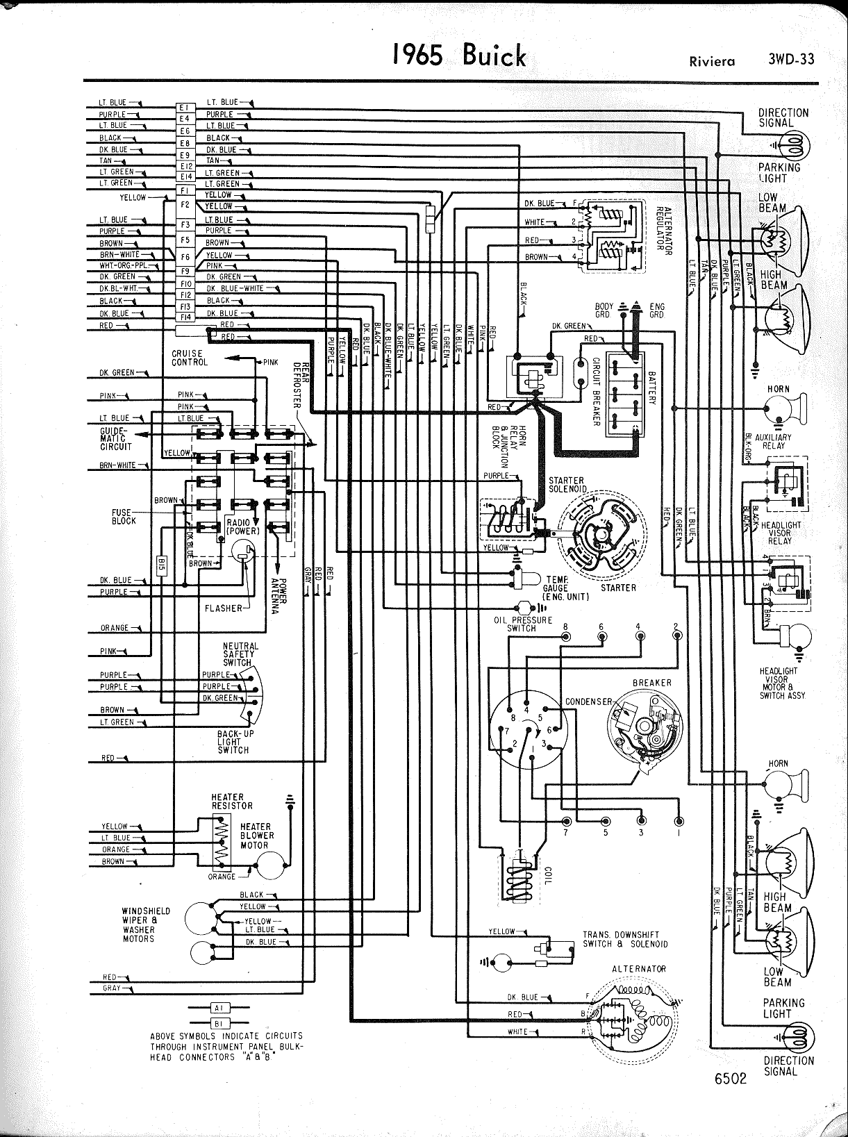 MWireBuic65_3WD 033 buick wiring diagrams 1957 1965 Basic Electrical Wiring Diagrams at bayanpartner.co