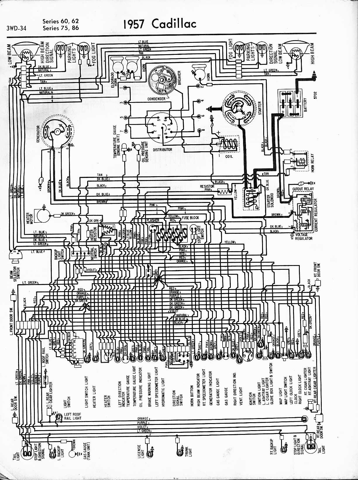 cadillac wiring diagrams 1957 1965 1957 series 60 62 75 86