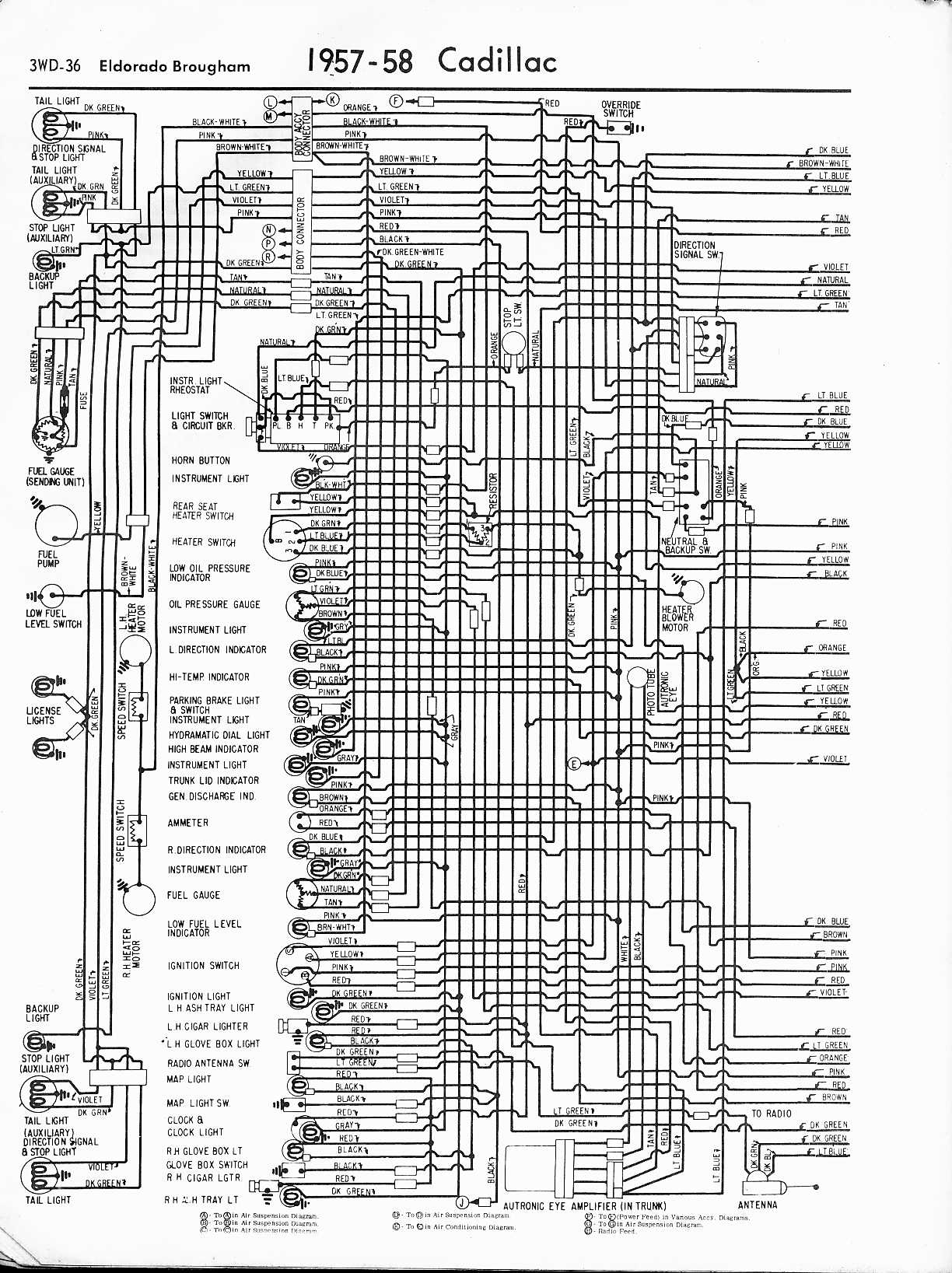 MWireCadi65_3WD 036 cadillac wiring diagrams 1957 1965 2001 cadillac deville wiring diagram at gsmx.co