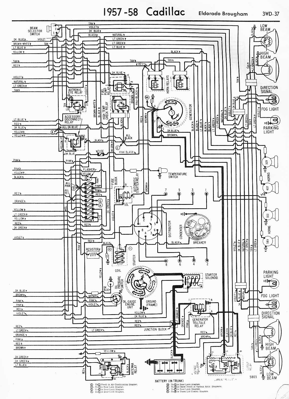 MWireCadi65_3WD 037 cadillac wiring diagrams 1957 1965 1960 Chevy Wiring Diagram at fashall.co