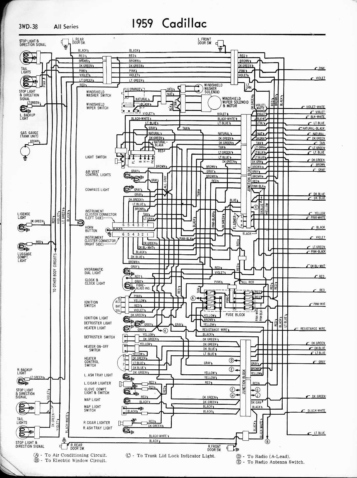 Cadillac Wiring Diagrams 1957 1965 Lead Motor Diagram Free Download Schematic 1959 All Series Left