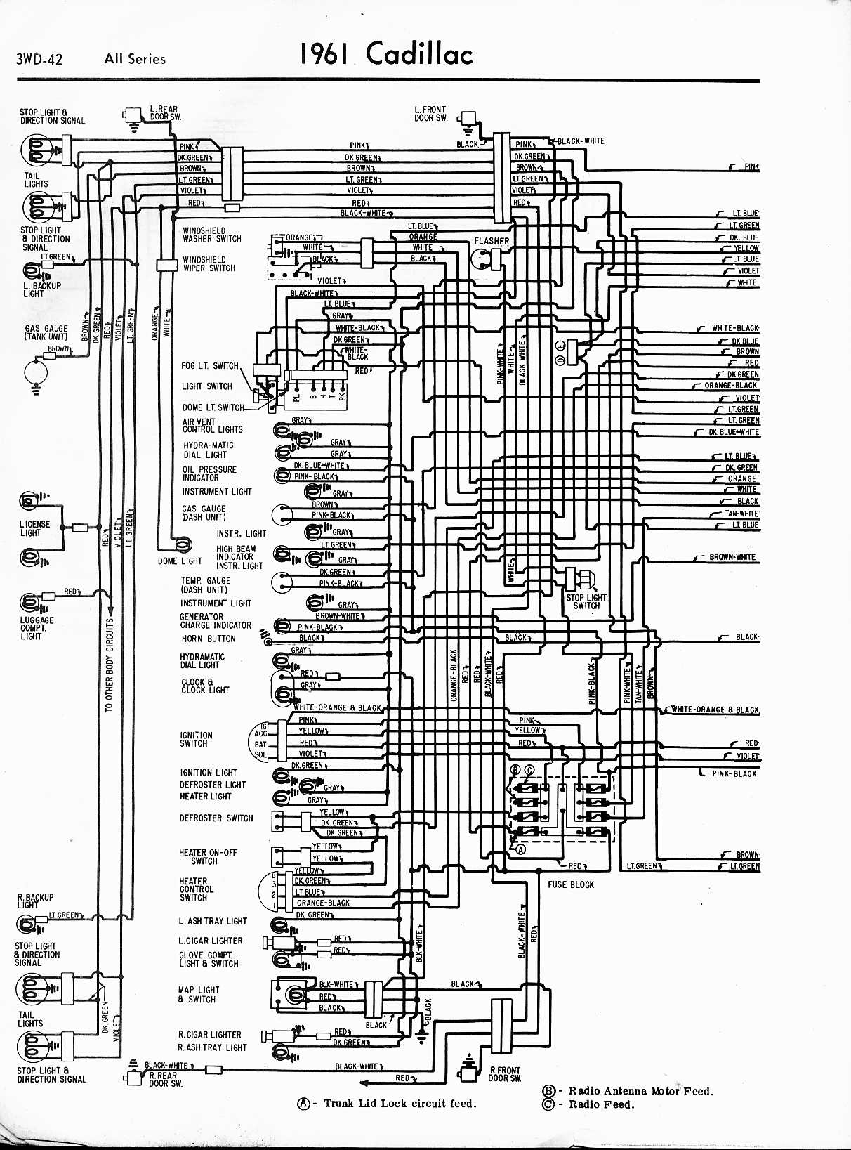cadillac wiring diagrams 1957 1965 rh oldcarmanualproject com 1961 Cadillac Wiring-Diagram 1962 Cadillac Vacuum Diagram