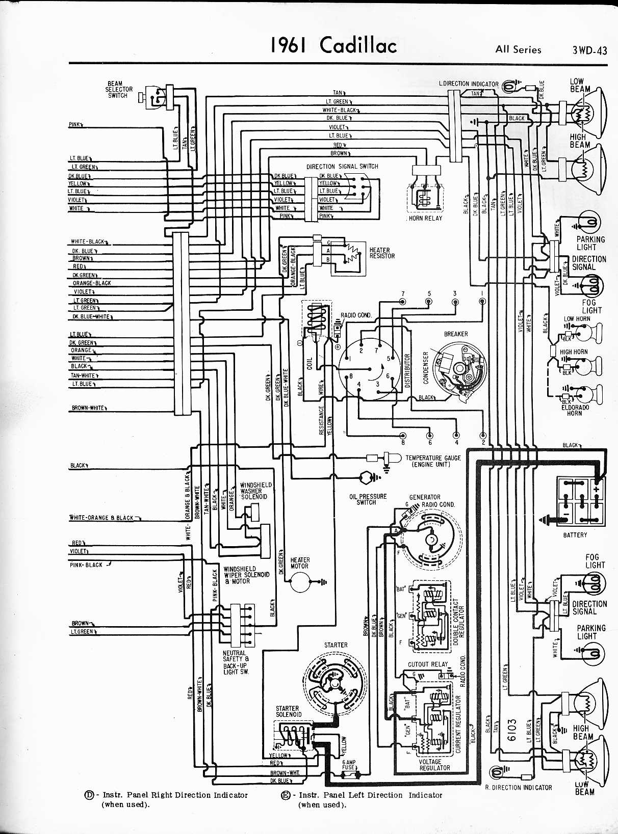 cadillac wiring diagrams 1957 1965 1950 Cadillac Wiring Diagram 1961 all series left