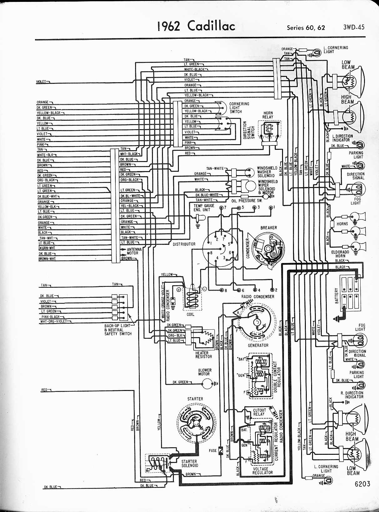 cadillac wiring diagrams 1957 1965 rh oldcarmanualproject com 1962 Cadillac Vacuum Diagram 1962 cadillac wiring diagram