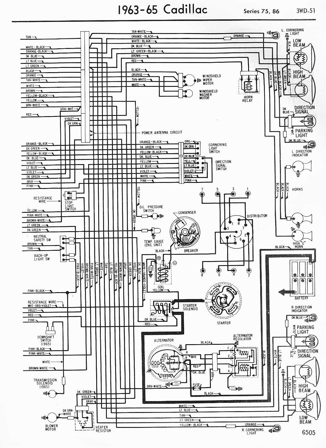 MWireCadi65_3WD 051 cadillac wiring diagrams 1957 1965 Cadillac DeVille Transmission Diagram at bayanpartner.co