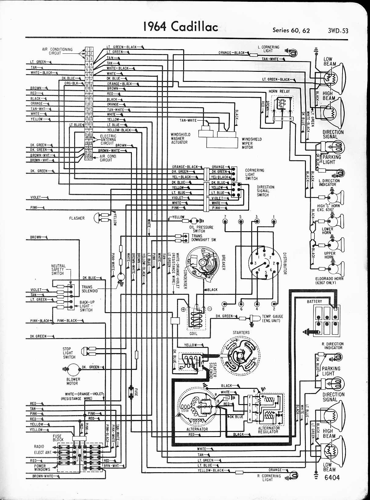 cadillac wiring diagrams 1957 1965 1982 Ford Wiper Switch Wiring Ford Wiper Motor Diagram