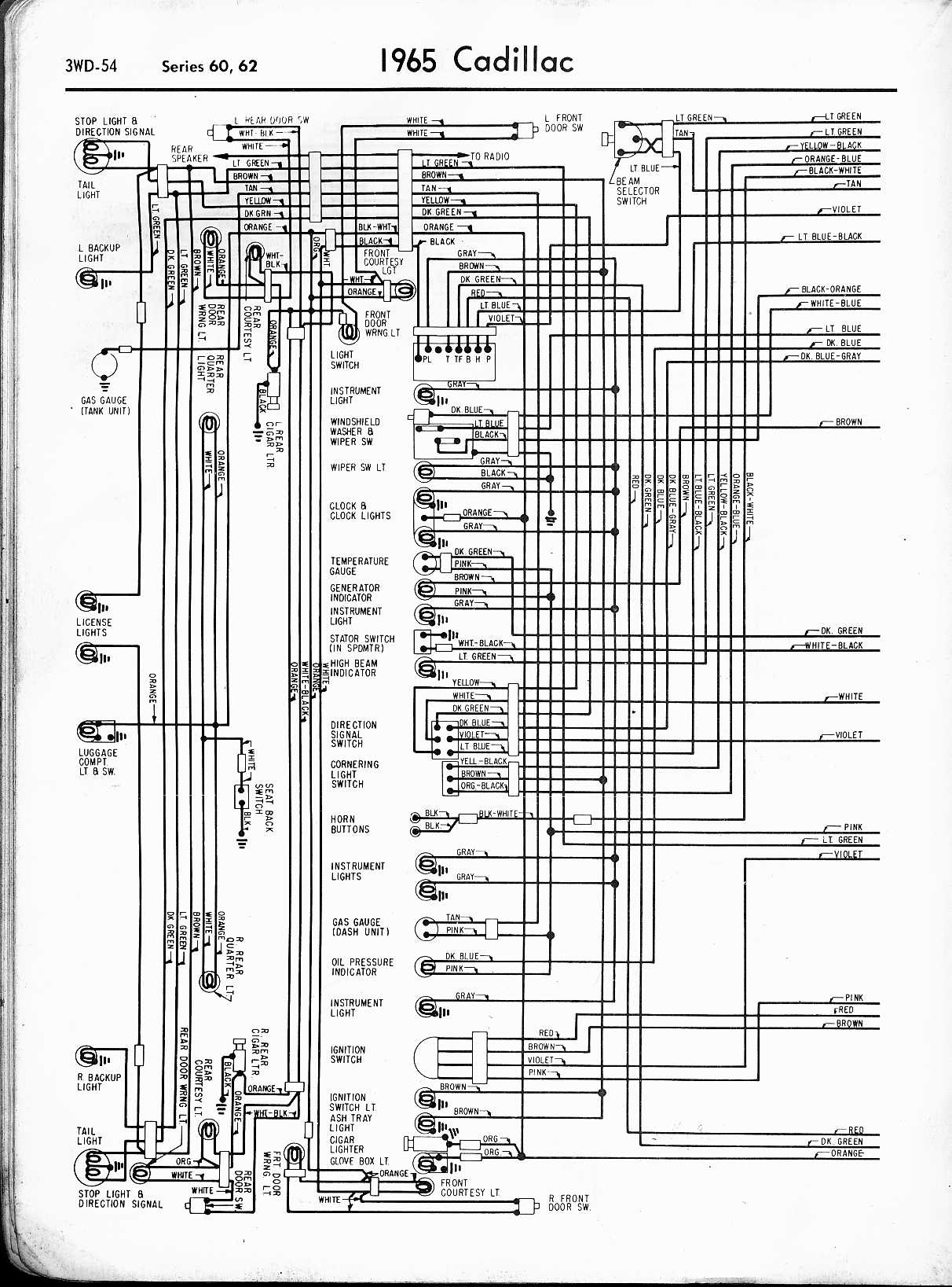 cadillac wiring diagrams 1957 1965 rh oldcarmanualproject com Headlight Pull Switch Headlight Dimmer Switch Diagram