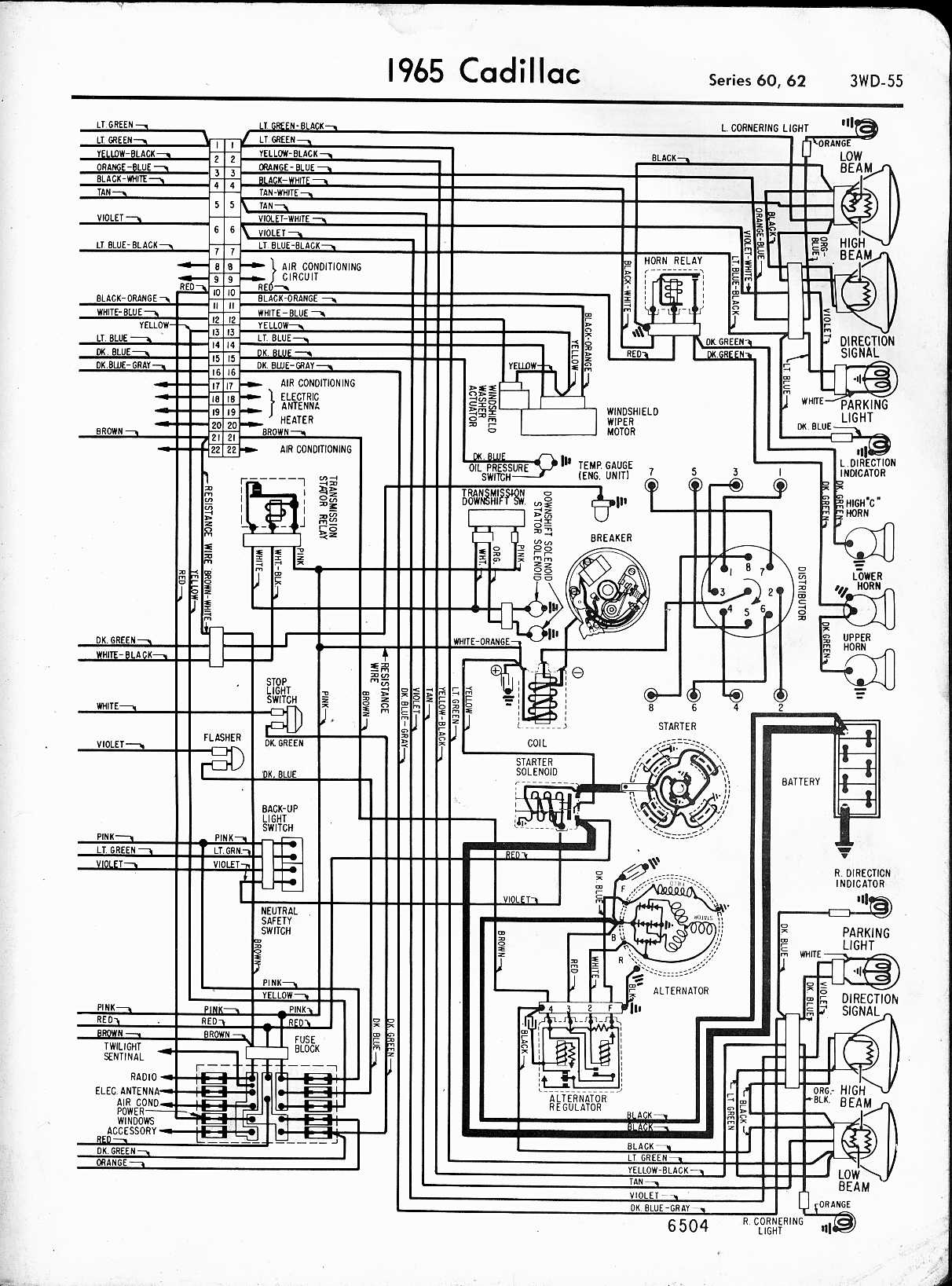 cadillac wiring diagrams 1957 1965 rh oldcarmanualproject com Headlight Switch Wiring Diagram Headlight Pull Switch