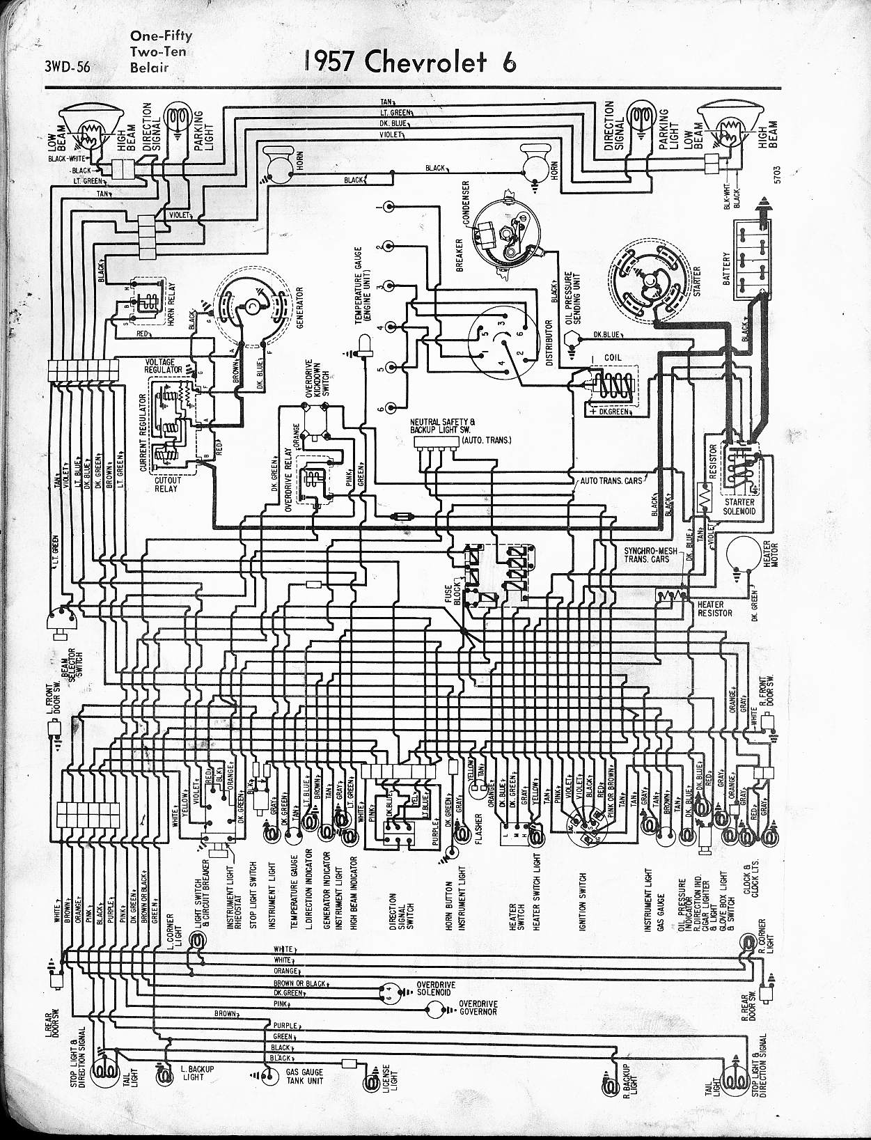 57 65 Chevy Wiring Diagrams Painless Indicator Light Diagram 1957 6 Cyl One Fifty Two Ten Belair