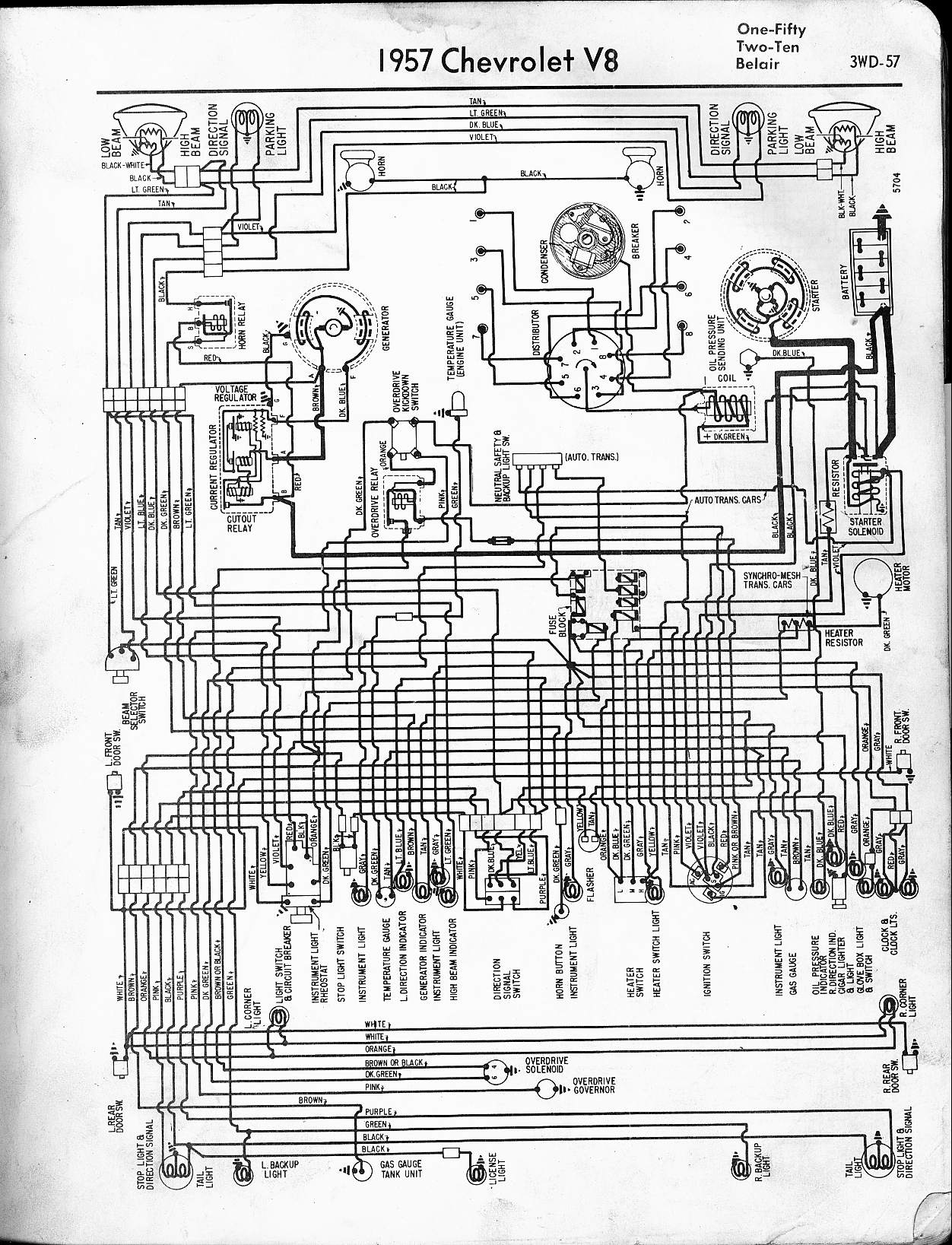 57 65 chevy wiring diagrams rh oldcarmanualproject com 1957 Chevy Upgraded Wiring-Diagram 1957 chevrolet bel air wiring diagram