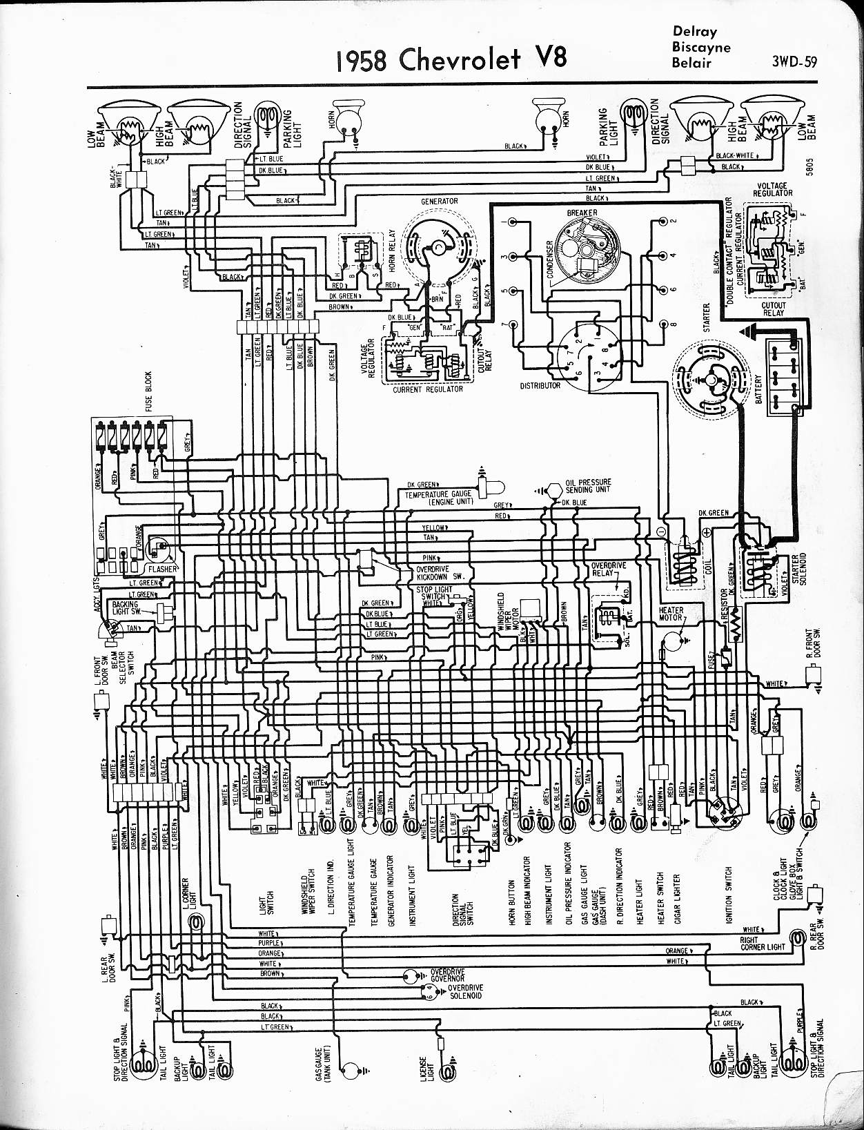 57 65 chevy wiring diagrams rh oldcarmanualproject com 1958 chevy impala wiring diagram