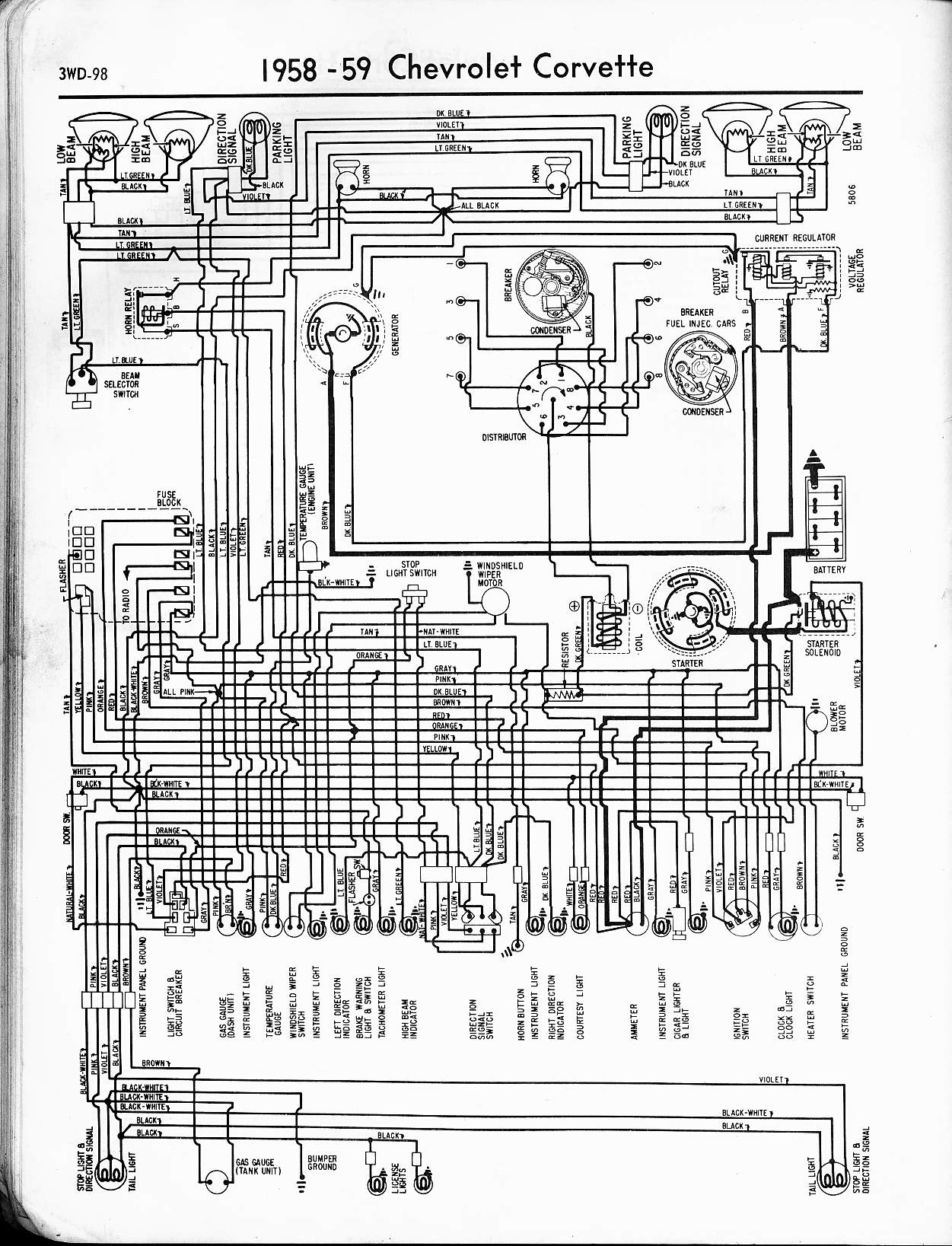 1959 Chevrolet Wiring Diagram Schematics 1987 El Camino Radio Schematic 1958 Corvette Chevy Factory