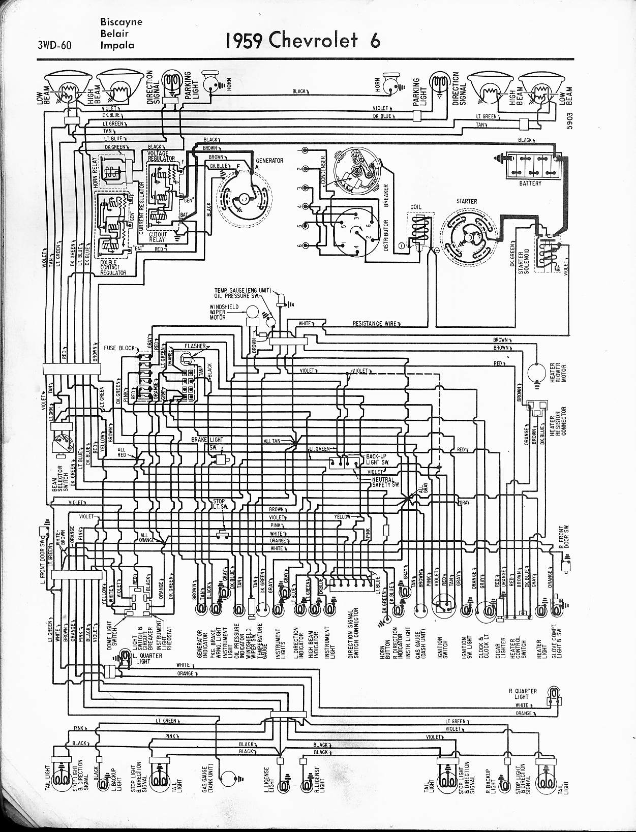Wiring Diagram For 1967 Chevy Impala Library Ii 57 65 Diagrams Rh Oldcarmanualproject Com Camaro 1959
