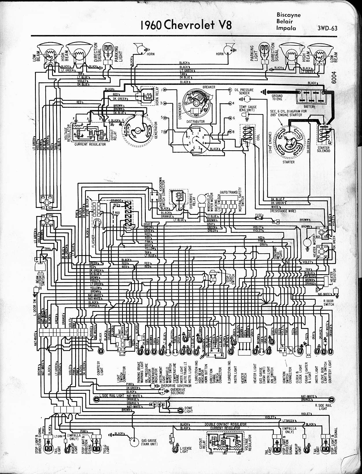 57 65 chevy wiring diagrams rh oldcarmanualproject com 1960 impala ignition switch wiring diagram 1960 chevy impala wiper motor wiring diagram