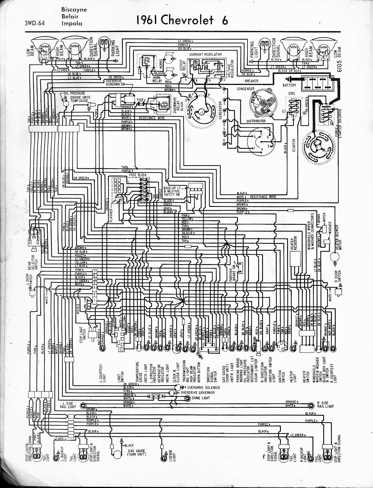 57 65 chevy wiring diagrams Wiring Diagram for 1967 Chevy Impala 1961 6 cyl biscayne, belair, impala