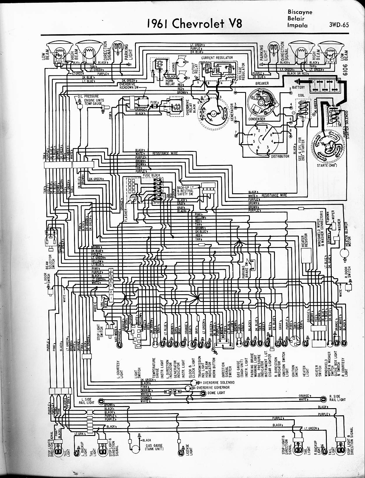 1965 Chevy Impala Wiring Diagram Schematic Sample Diagrams Automotive 57 65 1957 1961 V8 Biscayne Belair