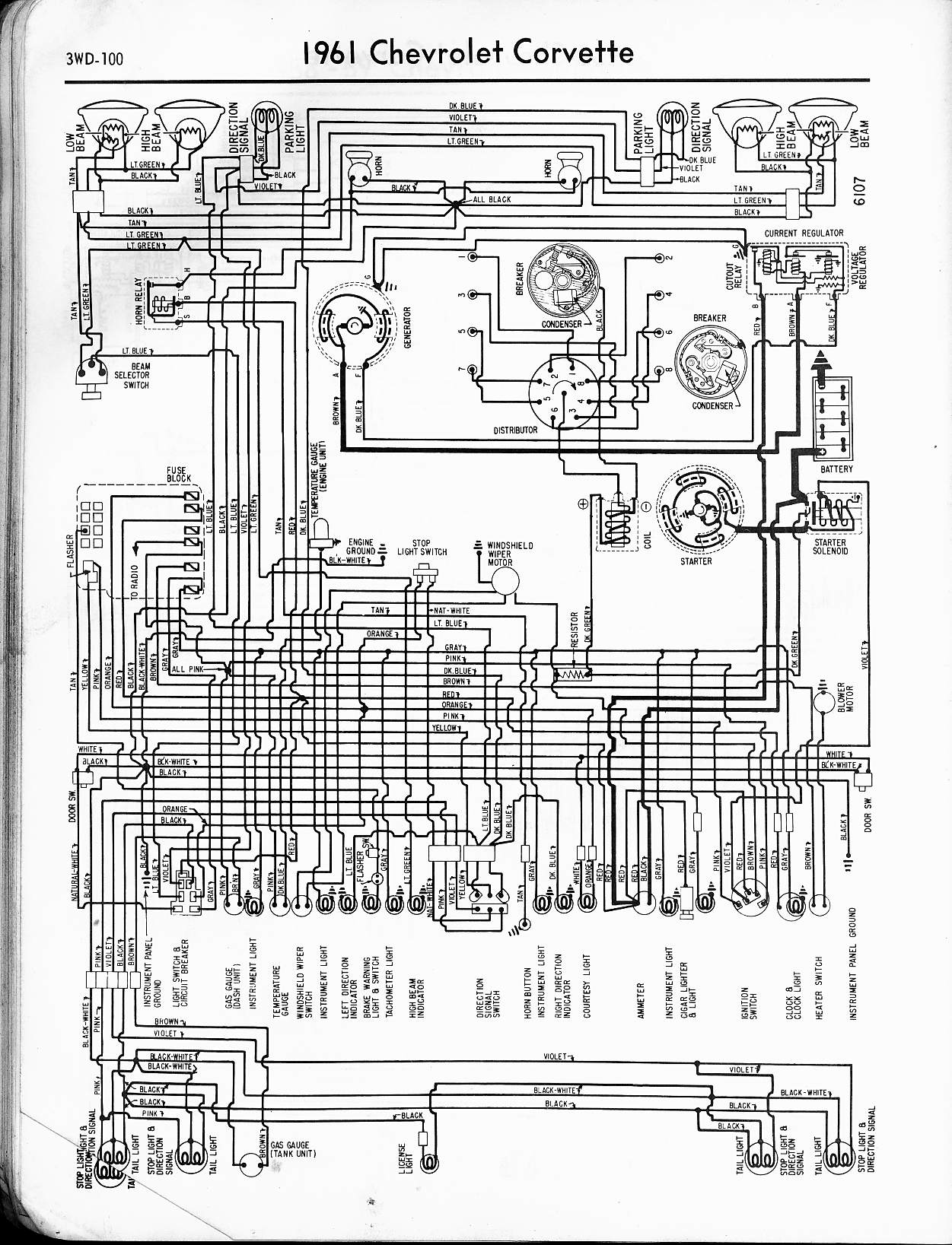 MWireChev61_3WD 100 57 65 chevy wiring diagrams Basic Turn Signal Wiring Diagram at edmiracle.co