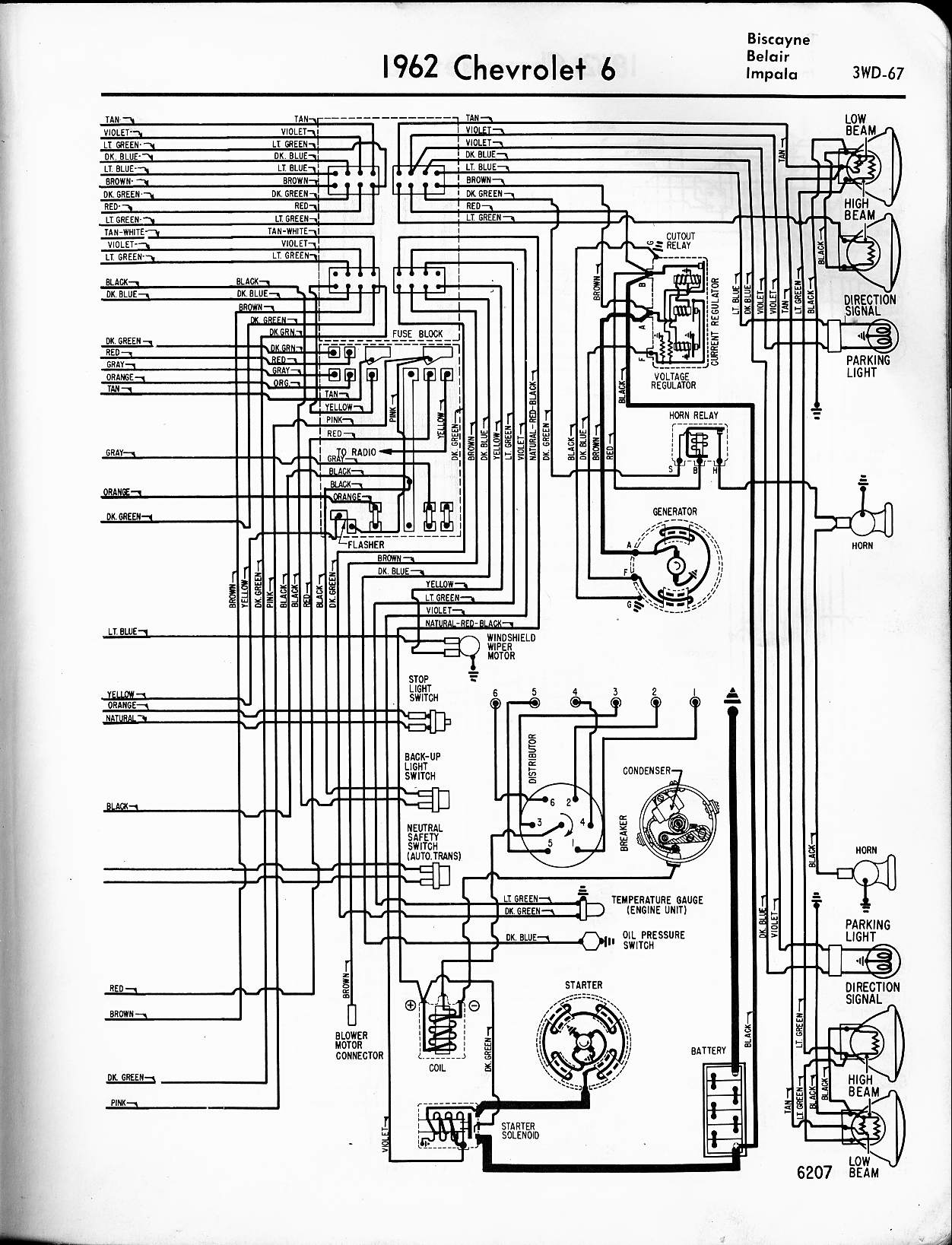 MWireChev62_3WD 067 57 65 chevy wiring diagrams 1961 impala wiper motor wiring diagram at bayanpartner.co