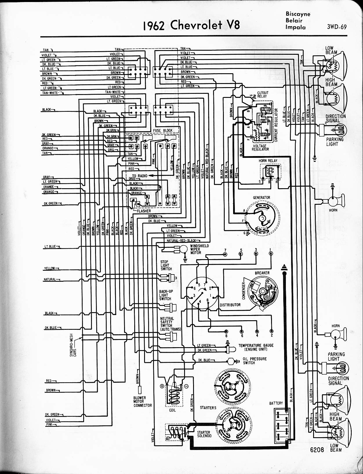 MWireChev62_3WD 069 1962 chevrolet wiring diagram manual chevytalk free 1964 impala wiring diagram at n-0.co