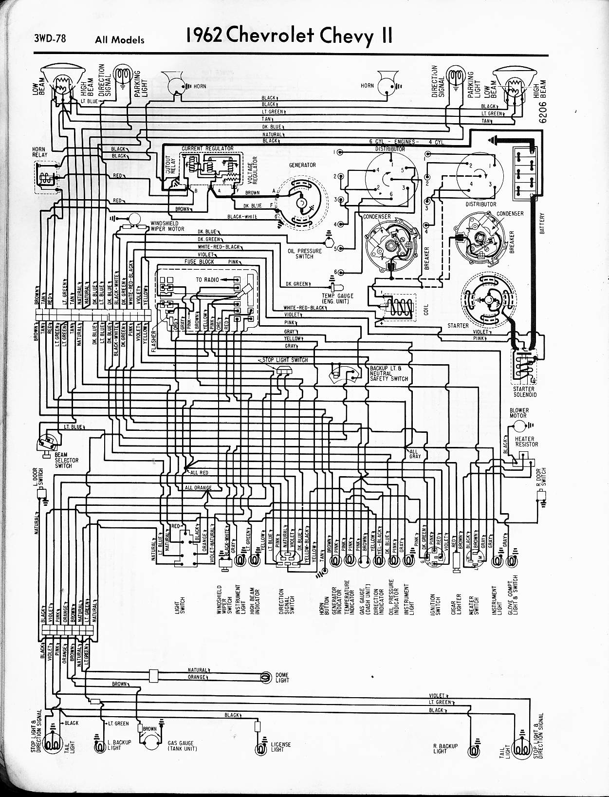 MWireChev62_3WD 078 57 65 chevy wiring diagrams 1962 impala wiring diagram at virtualis.co