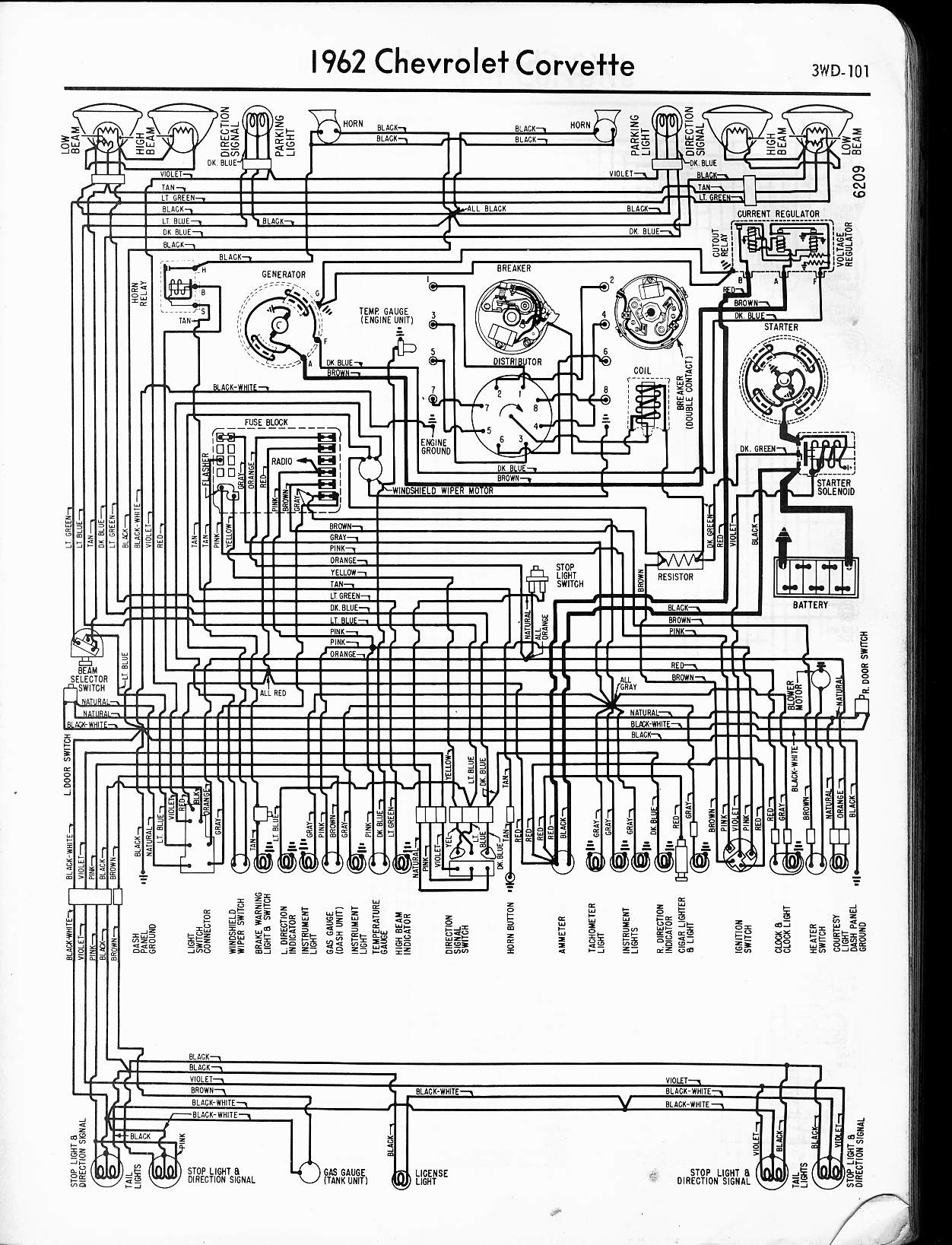 MWireChev62_3WD 101 57 65 chevy wiring diagrams 66 Corvette at bayanpartner.co