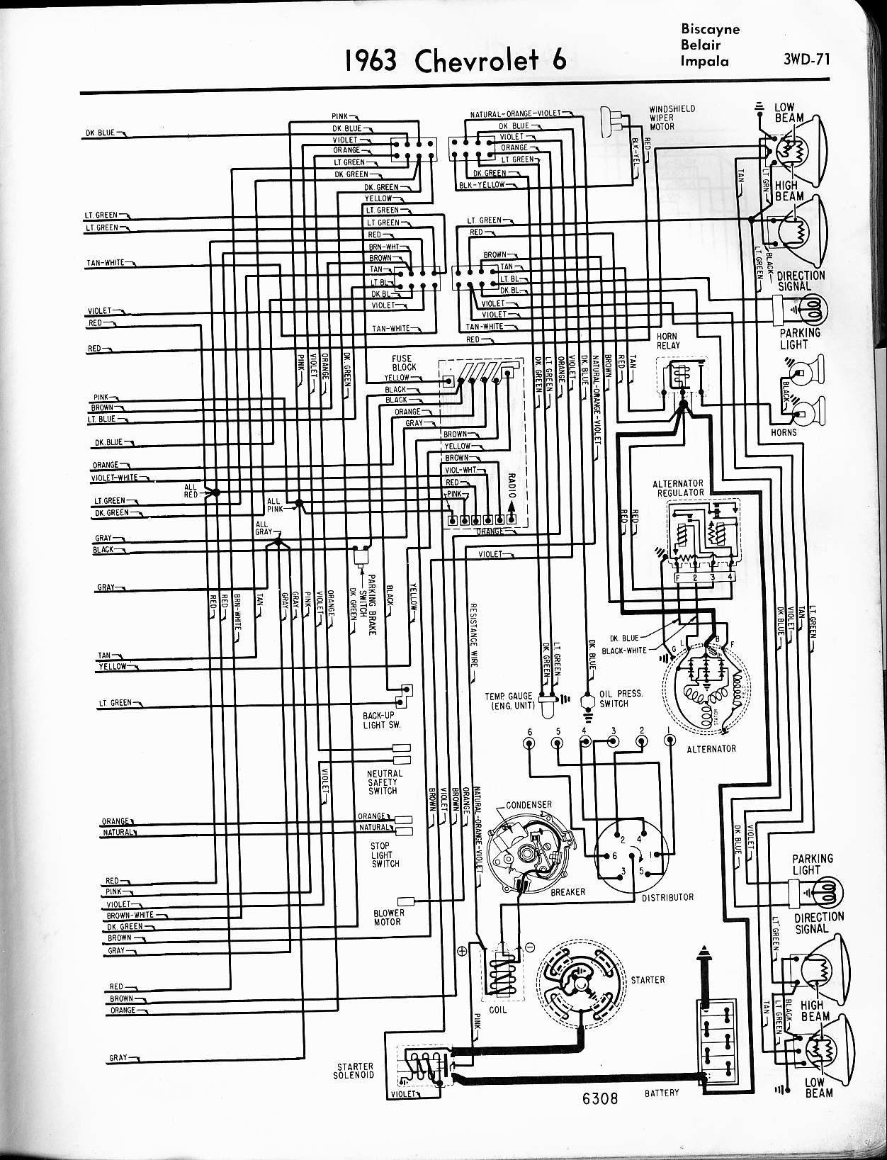57 65 chevy wiring diagrams rh oldcarmanualproject com 1965 impala engine wiring diagram 1965 impala tail light wiring diagram