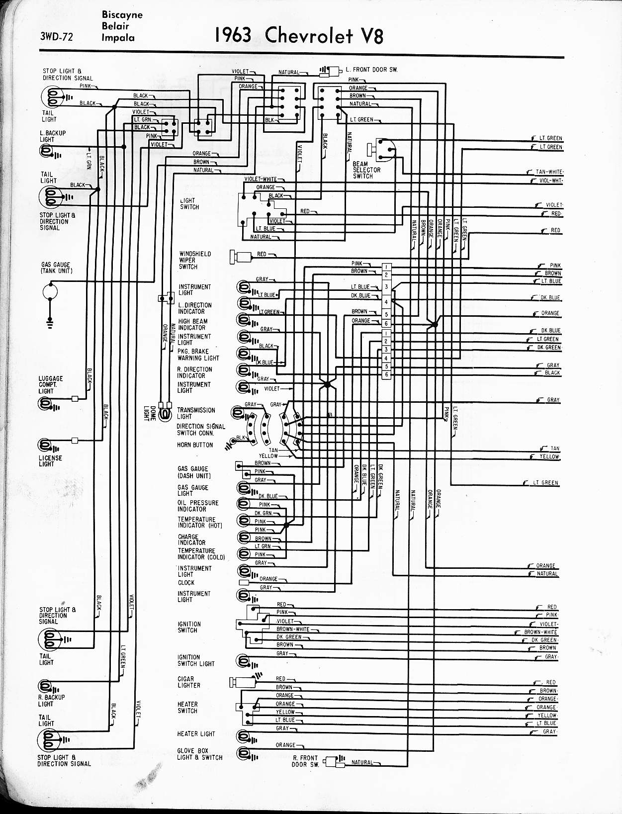 MWireChev63_3WD 072 57 65 chevy wiring diagrams 3 Wire Headlight Wiring Diagram at crackthecode.co