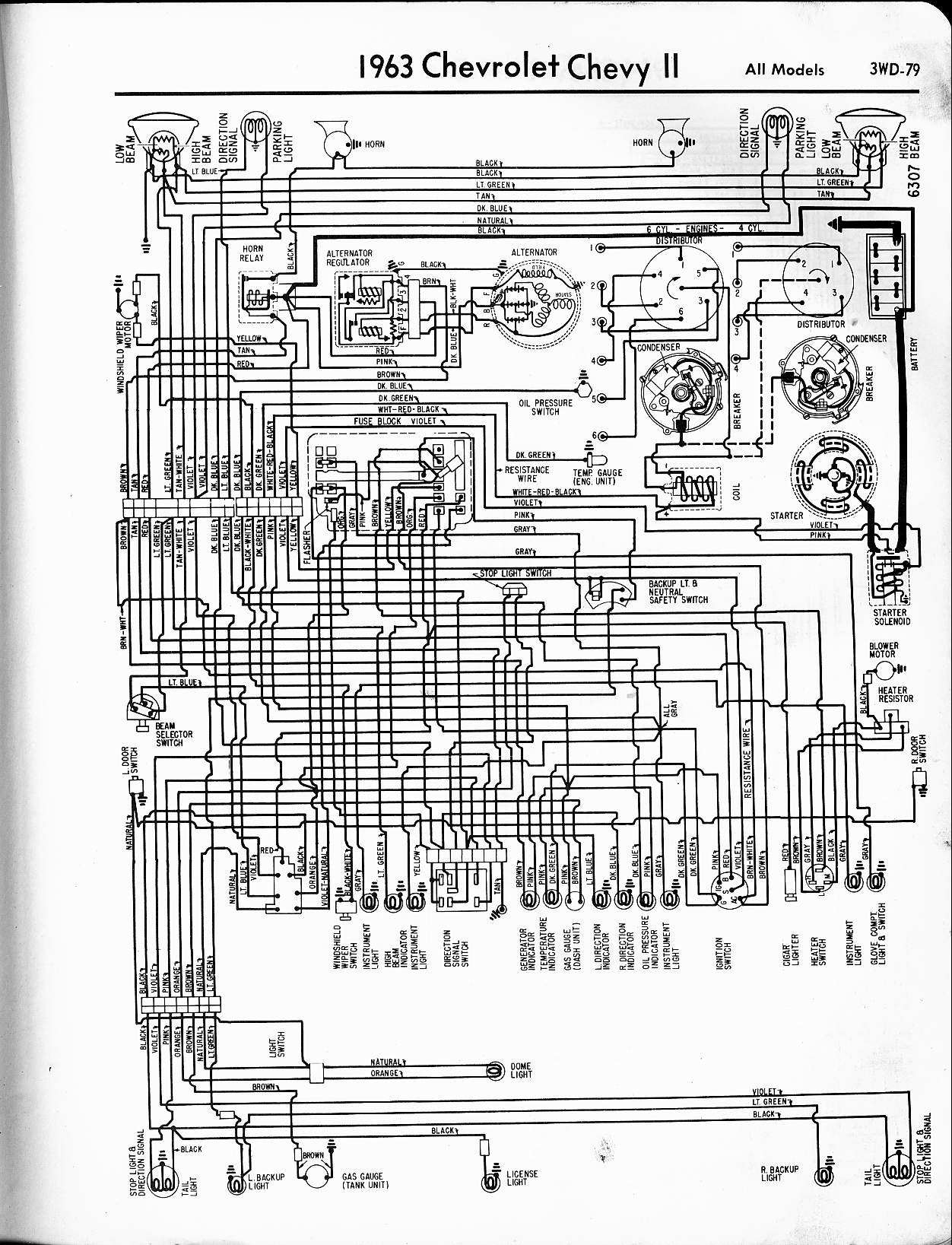 MWireChev63_3WD 079 57 65 chevy wiring diagrams 3 Wire Headlight Wiring Diagram at gsmx.co