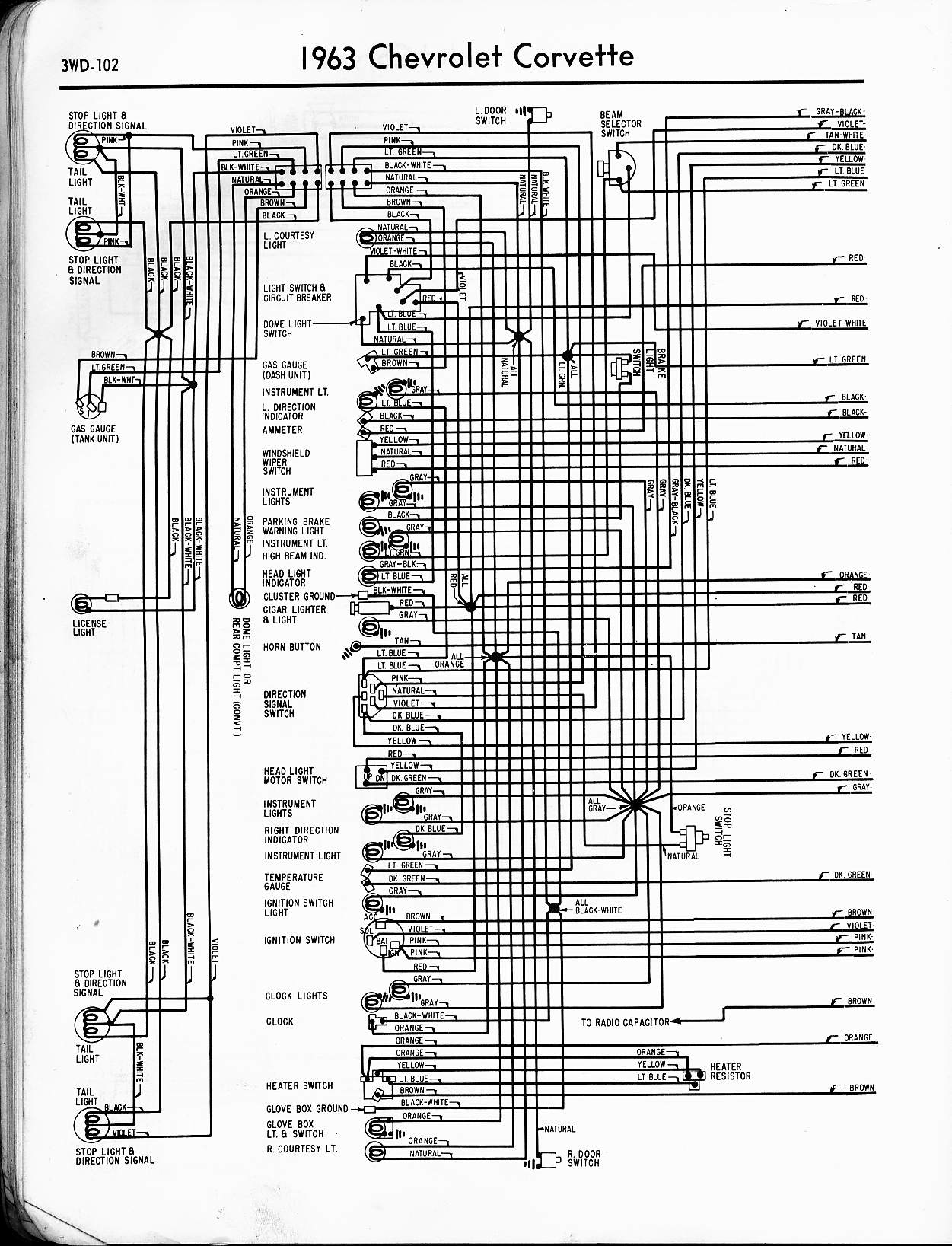 MWireChev63_3WD 102 57 65 chevy wiring diagrams 66 Corvette at bayanpartner.co