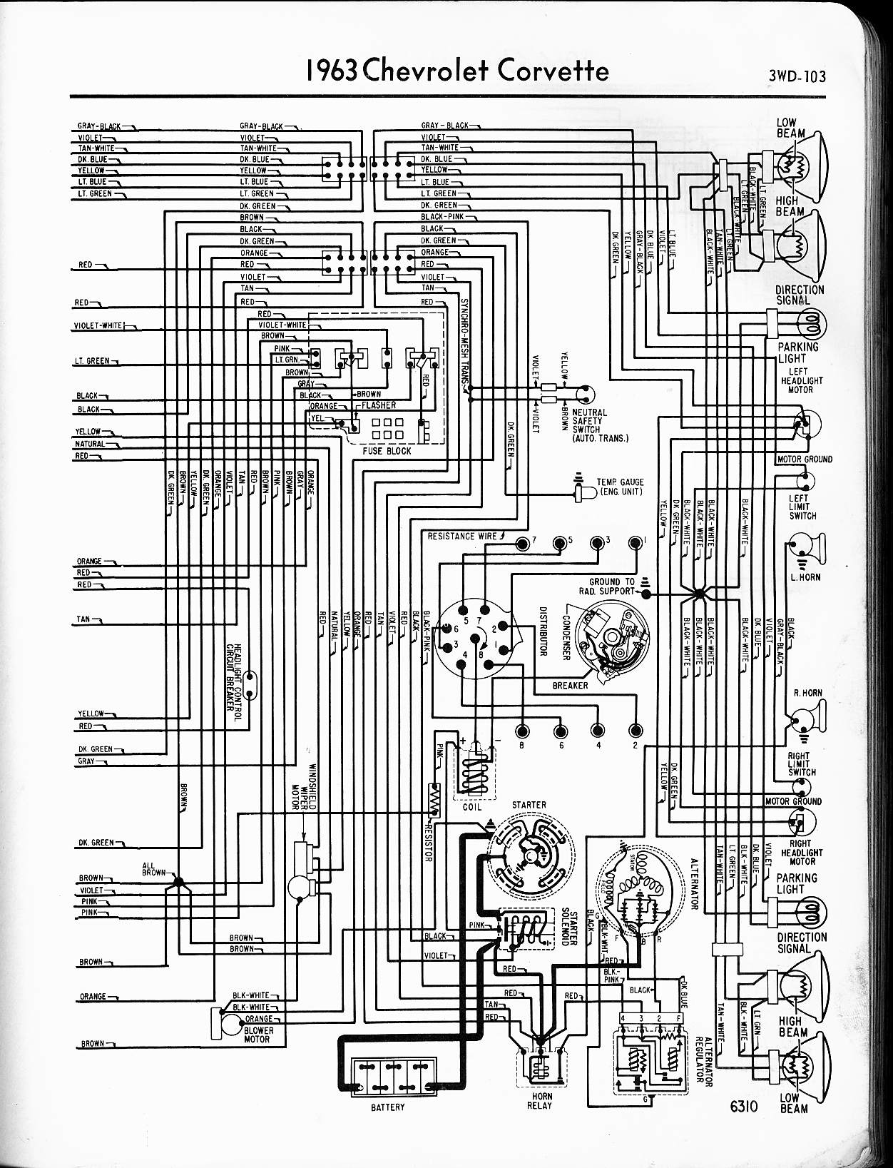 MWireChev63_3WD 103 57 65 chevy wiring diagrams 1970 Corvette Wiring Diagram at n-0.co
