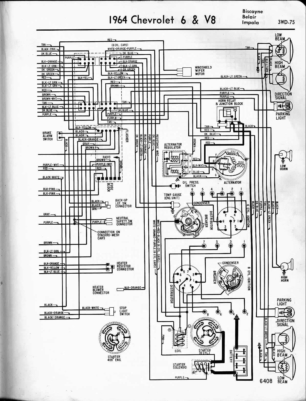 57 65 chevy wiring diagrams 2004 impala heater wiring diagram 1964 6 & v8  biscayne,