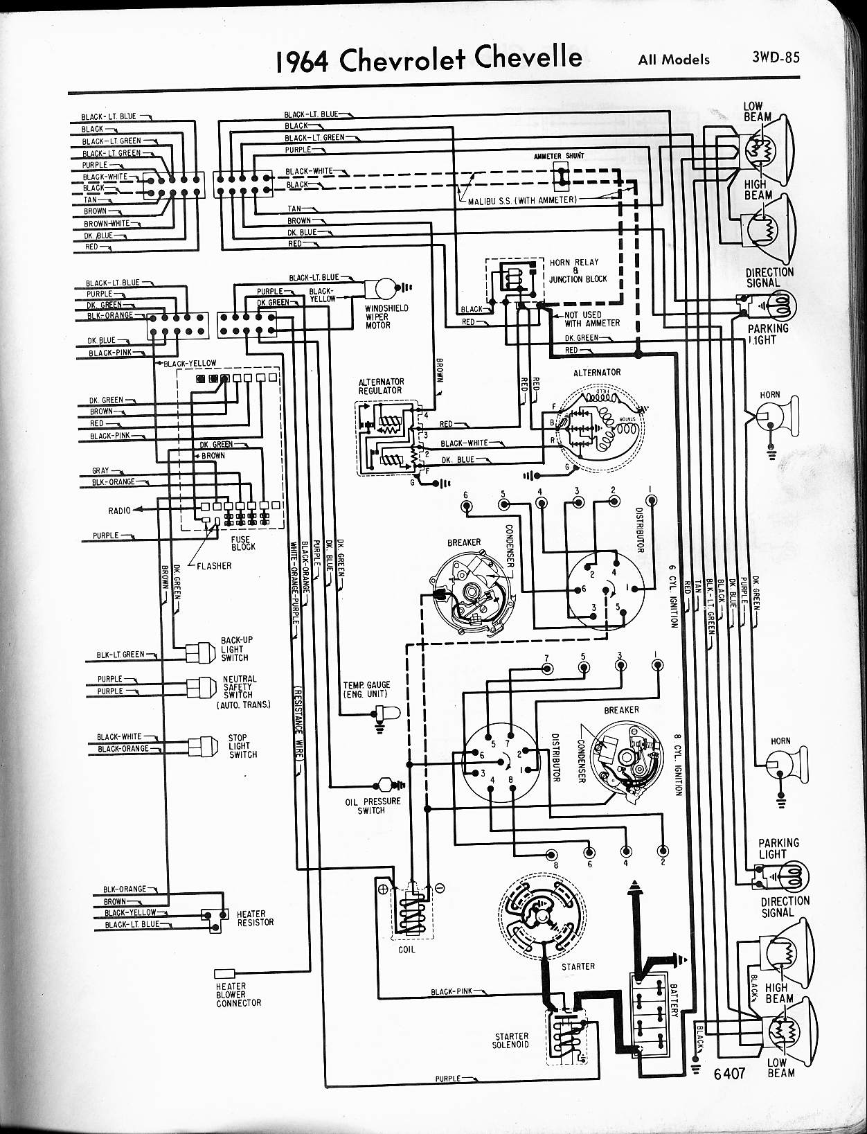 MWireChev64_3WD 085 57 65 chevy wiring diagrams 1964 falcon wiring diagram at soozxer.org