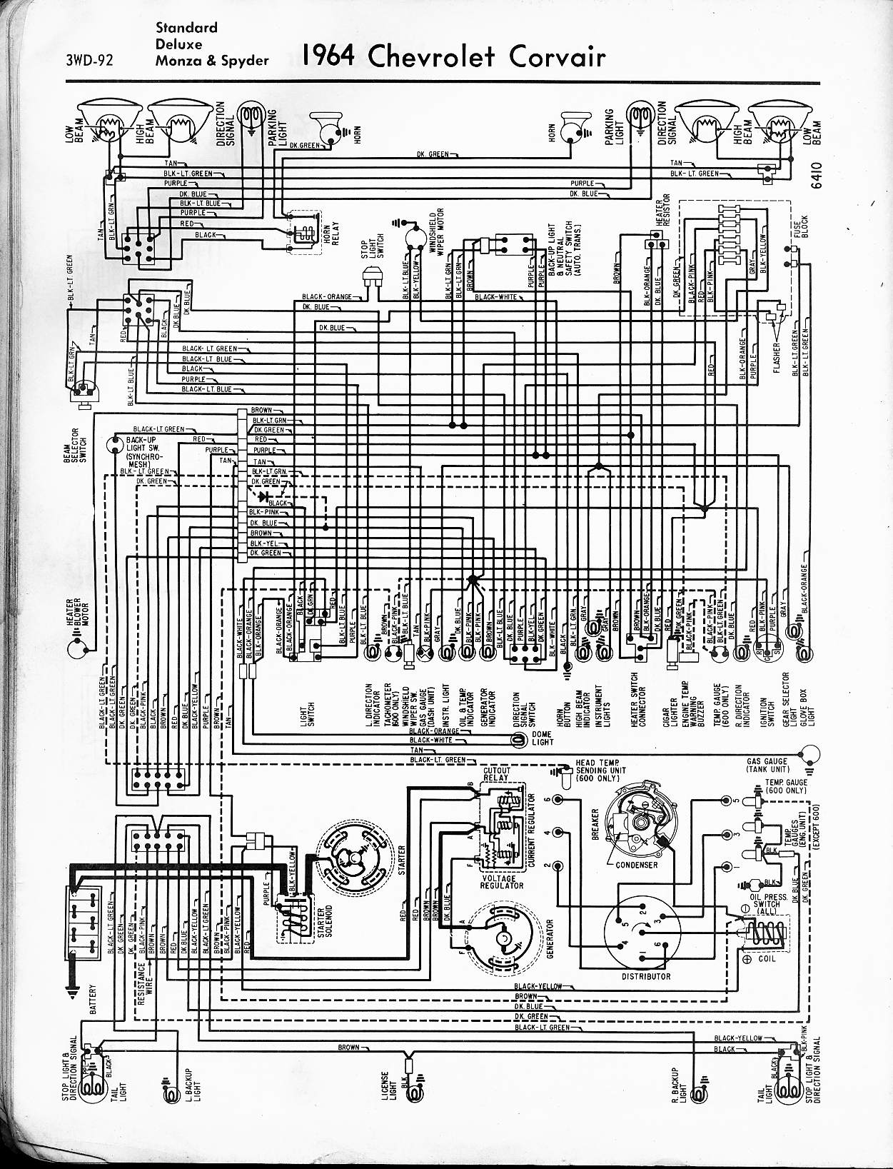 57 65 chevy wiring diagrams 1964 corvair std deluxe monza spyder