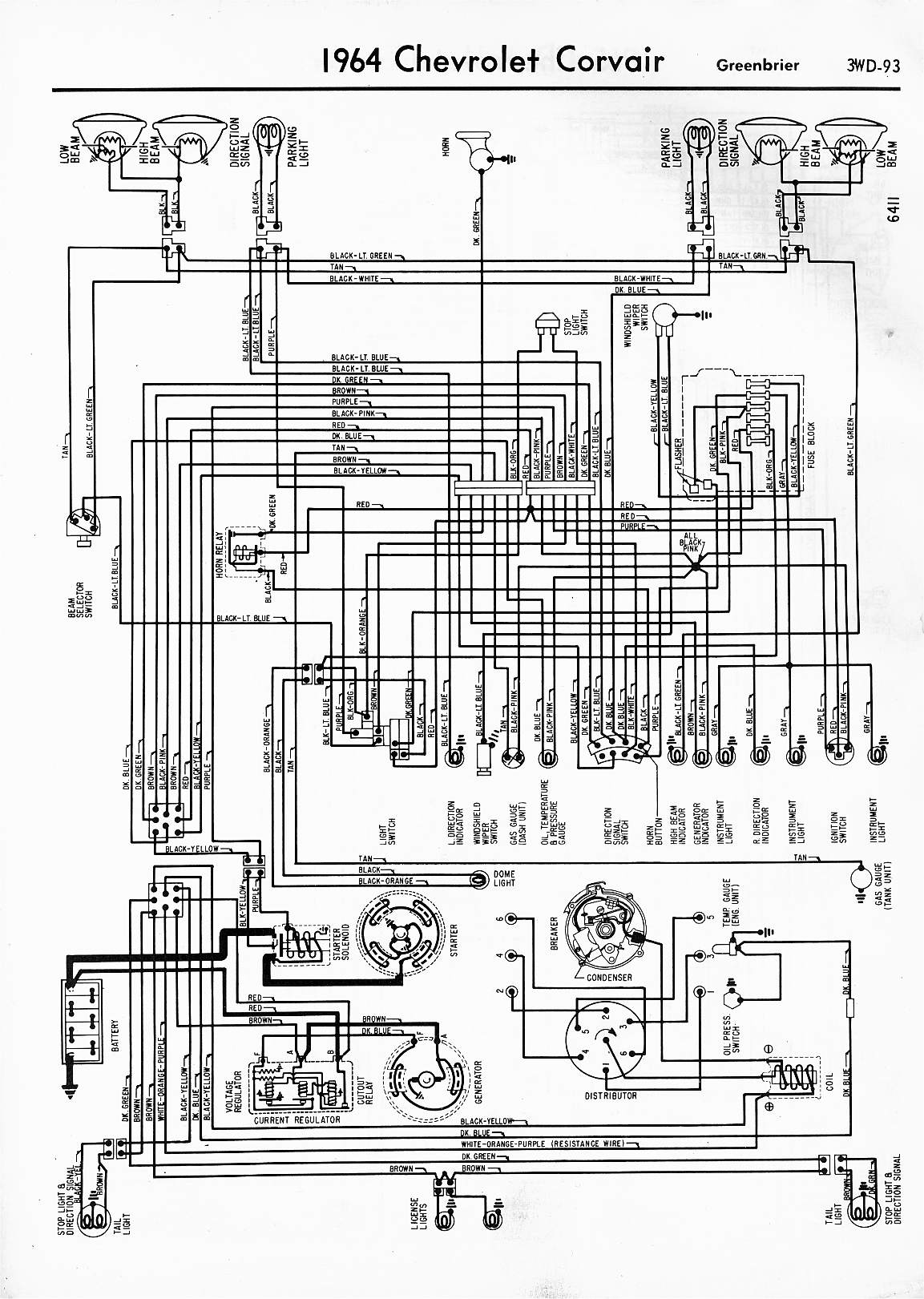 57 65 chevy wiring diagrams rh oldcarmanualproject com 1964 corvette ignition wiring diagram 1964 corvette brake wiring diagram