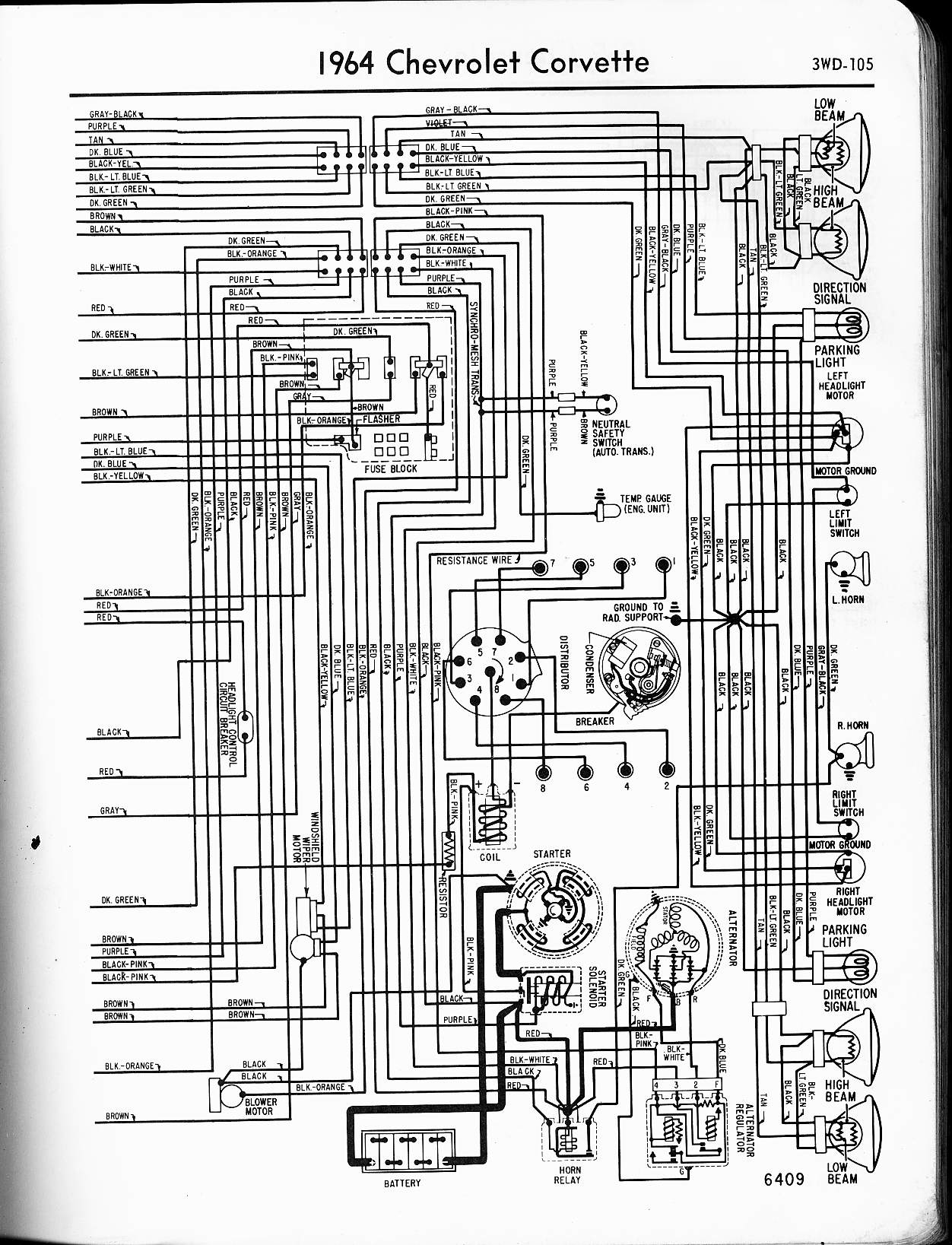MWireChev64_3WD 105 57 65 chevy wiring diagrams 2000 C5 Corvette Wiring Diagram at fashall.co