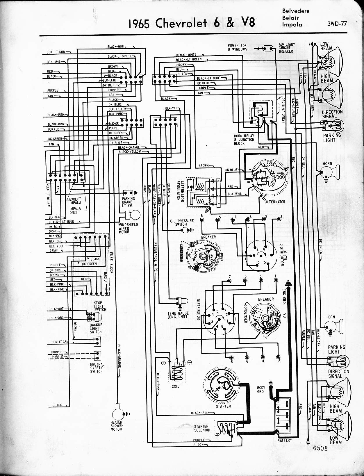 MWireChev65_3WD 077 57 65 chevy wiring diagrams 3 Wire Headlight Wiring Diagram at gsmx.co